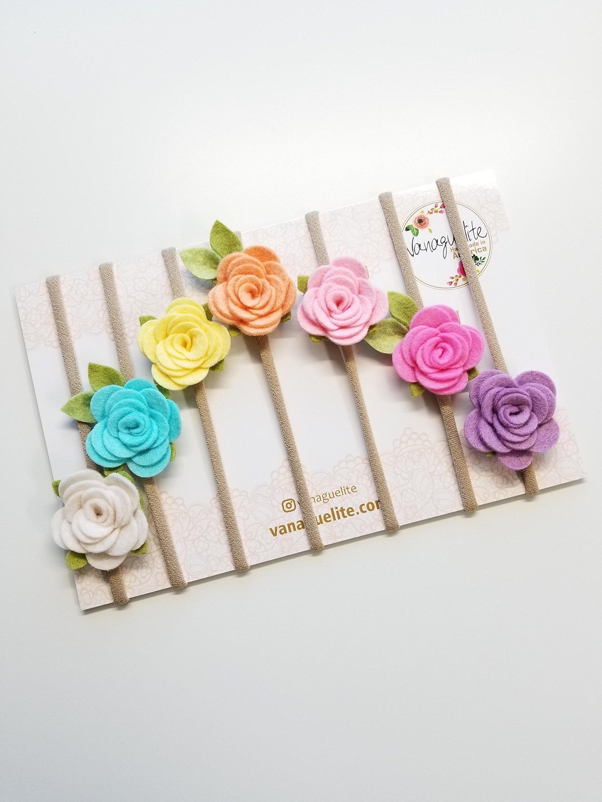 Baby Bows Flower RAINBOW Nylon Headbands felt flower handmade in America Set of 7 by Vanaguelite