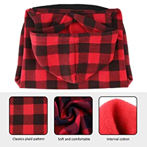 Blaoicni Plaid Dog Hoodie Sweatshirt Sweater for Medium Dogs Cat Puppy Clothes Coat Warm and Soft (M) (Color: red plaid, Tamaño: M)