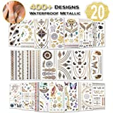 Temporary Tattoos for Women (Waterproof Festival Tattoos), 20 Sheets Gold Tattoo Stickers, (400+ Designs, Temporary Tattoo Festival) Fake Tattoos for Girls, Women, Adult by AniSqui
