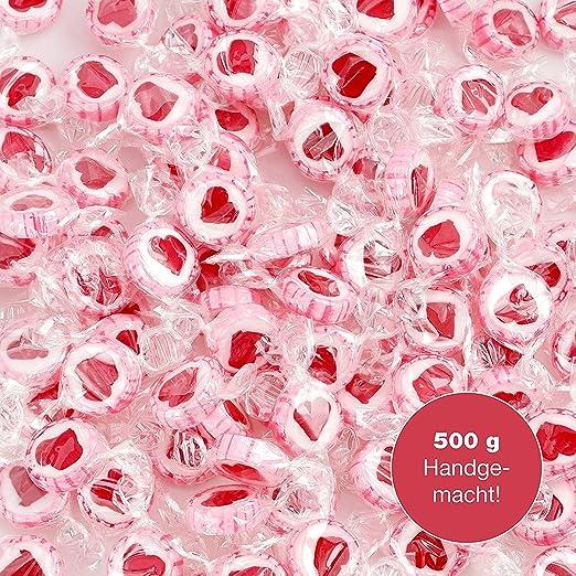 Sweet Wishes 500 g Rocks Herzbonbons - süße Tisch-Deko zu Hochzeit Taufe Valentinstag Muttertag Kommunion - Handarbeit zum Na