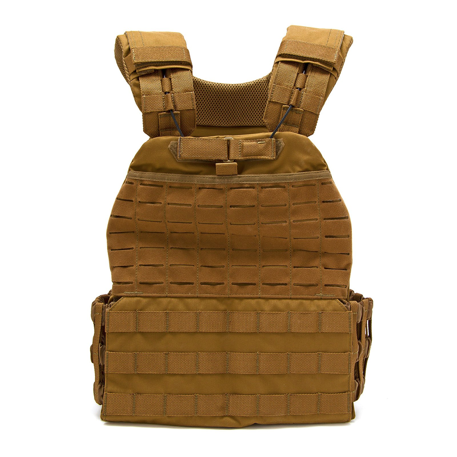 Fringe Sport Adjustable Tactical Weight Plate Vest / 10lb, 15lb or 20lb / Modular Plate Carrier for Training & Conditioning (15lb, Tan)