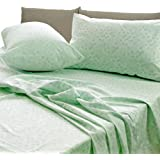 Essina 100% Cotton Queen Bed Sheet Set 4pc Rosetta Collection, 620 Thread Count, Deep Pocket Queen Fitted Sheet, Laurel