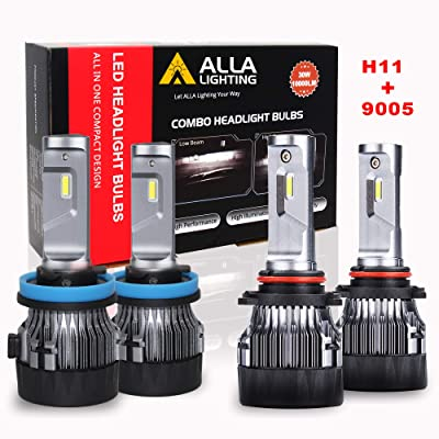 ALLA Lighting S-HCR H11 9005 Combo LED Headlight Bulbs 10000Lms Extreme Super Bright High Beam And Low Beam Conversion Kits Replacement for Cars, Trucks, 6000K ~ 6500K Xenon White (4 Packs, 2 Sets): Automotive