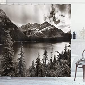National Parks Home Decor Shower Curtain by Ambesonne, Alpine Area Province Waterfront Recreation Relax Design, Fabric Bathroom Decor Set with Hooks, 70 Inches, Sepia