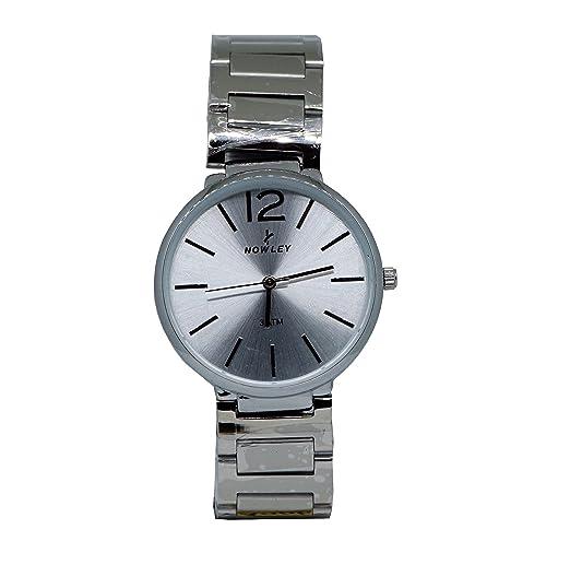 reloj hombre, marca Nowley, caja y armix de acero con números en color acero: Amazon.es: Relojes