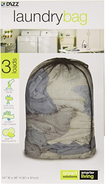 """3 Smart Solutions Laundry Bag 3 Loads Easy Carry Handle 24/""""W X 36/""""H"""