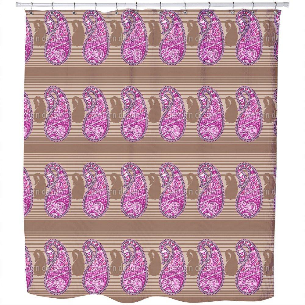 Uneekee Oriental Paisley Shower Curtain: Large Waterproof Luxurious Bathroom Design Woven Fabric