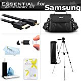 "Essential Accessories Kit For Samsung F90, HMX-F90, HMX-F90BN, HMX-F90WN/XAA, HMX-F90BN/XAA HD Camcorder Includes 50"" Tripod w/Case + Deluxe Case / Bag + Micro HDMI Cable + Screen Protectors + More"