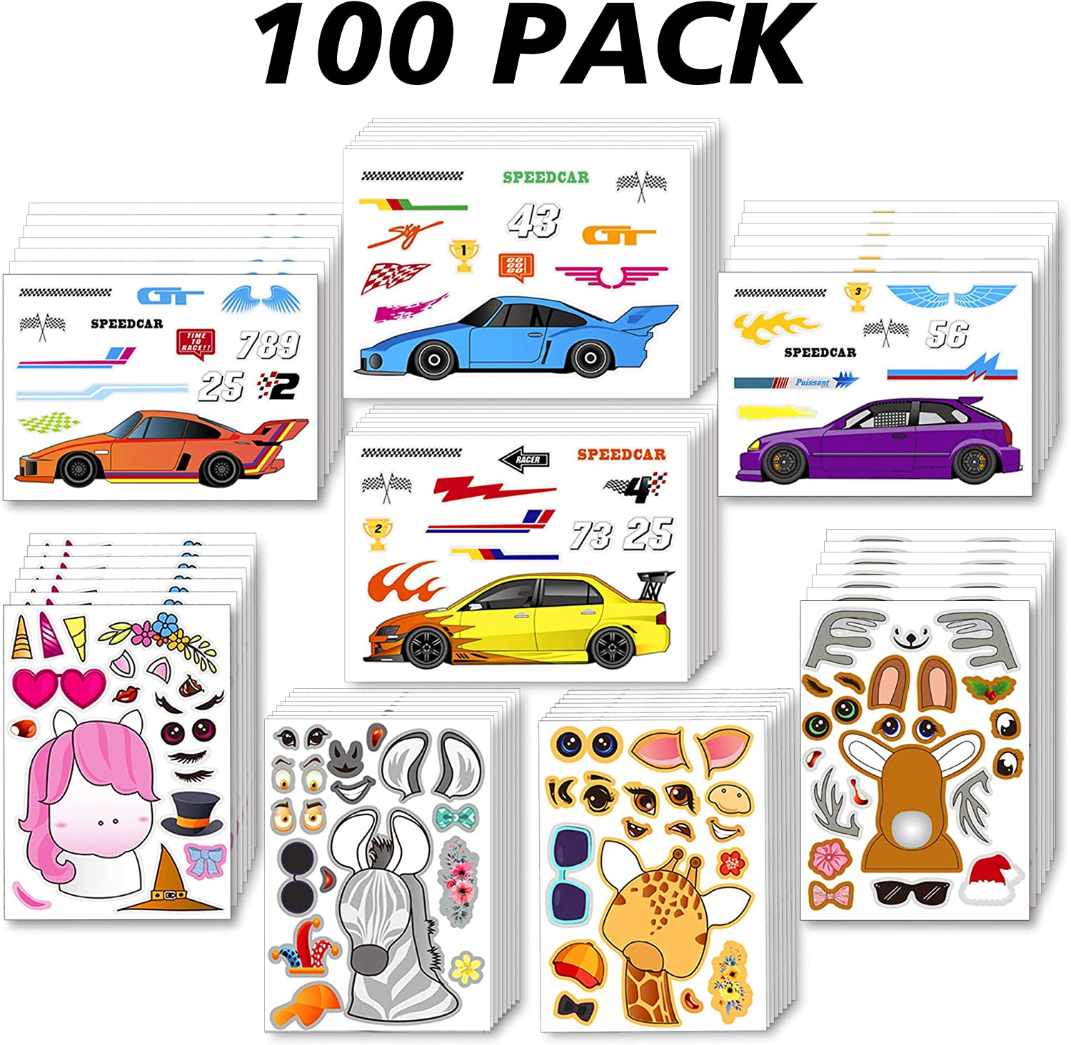 Sinceroduct Make Your Own Stickers for Kids, Make-a-Face Stickers, 100 Pack 12 Designs. Cool Cars, Zoo Animals and More, Home Game, Gift of Festival, Reward, Art Craft, Party Favors, School