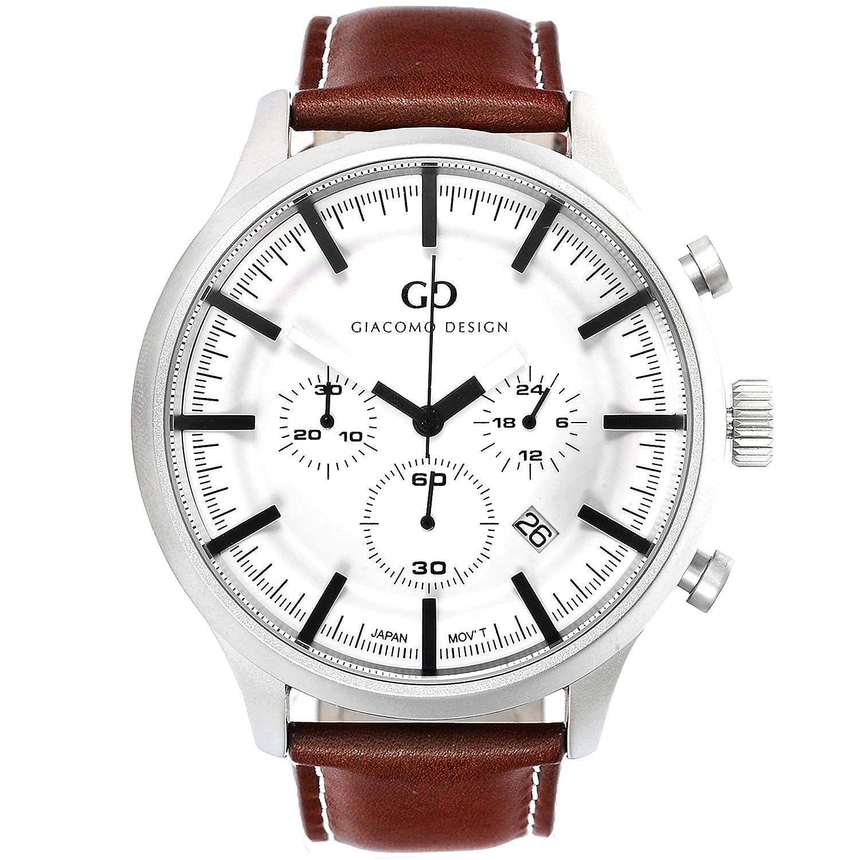 Giacomo Design GD01004 Herren-Armbanduhr Lederband Datum Chronograph