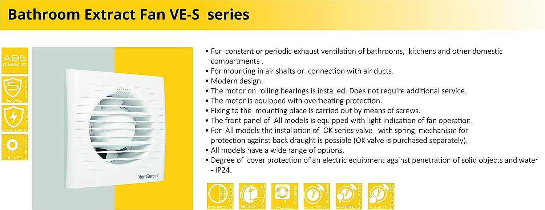 Ventilador extractor de baño aire 100 mm Silencioso con válvula ...