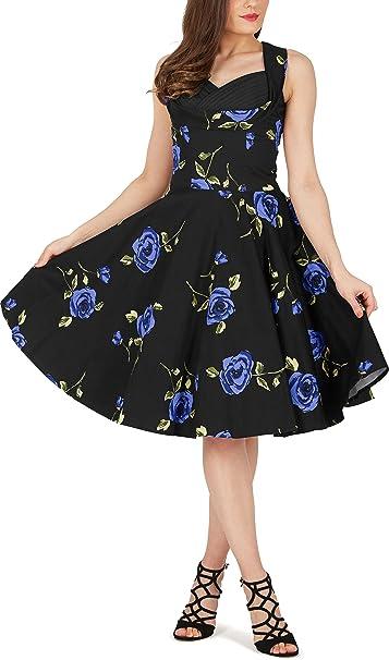 BlackButterfly Aura Vestido Classic Infinity Años 50 (Grandes Rosas Azules, ES 36