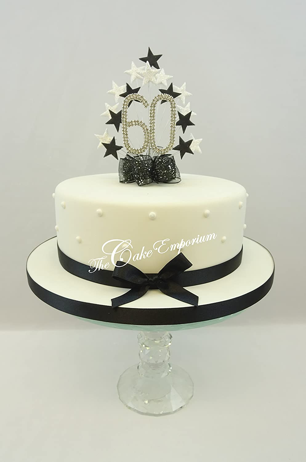 STAR AGE 60TH BIRTHDAY CAKE TOPPER IN SILVER AND BLACK - Handmade to ...
