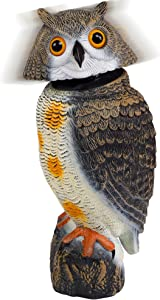 Hausse Bird Scarecrow Fake Owl Decoy Sculpture, Plastic 360 Degree Rotating Head Owl Bird Deterrents, Large Nature Enemy Horned Pest Repellent for Outdoor Garden Yard