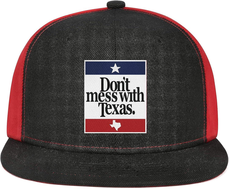 NAILINA Dont Mess with Texas Men Womens Flat Hats Curved Snapback Flat Brim Cap