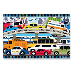 "Melissa & Doug Traffic Jam Floor Puzzle (Beautiful Original Artwork, Sturdy Cardboard Pieces, 24 Pieces, 24"" L x 36"" W, Great Gift for Girls and Boys - Best for 3, 4, and 5 Year Olds)"