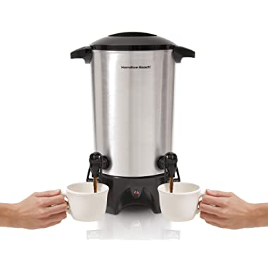 Hamilton Beach Dual-Spout Coffee Urn, 45 Cups, Stainless Steel (40518),