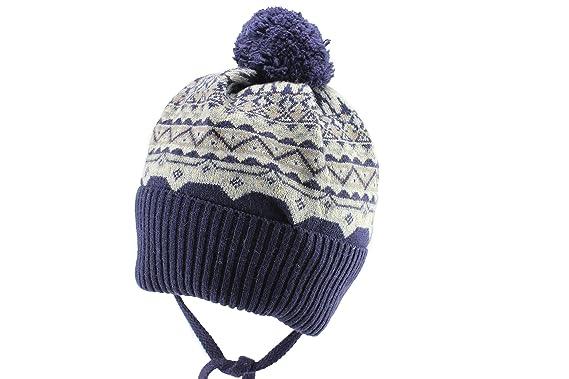 472b6a6ff51 Amazon.com  Jamiks Navy Boys Warm Ear Flap Beanie Pom Pom Winter Hat   Clothing