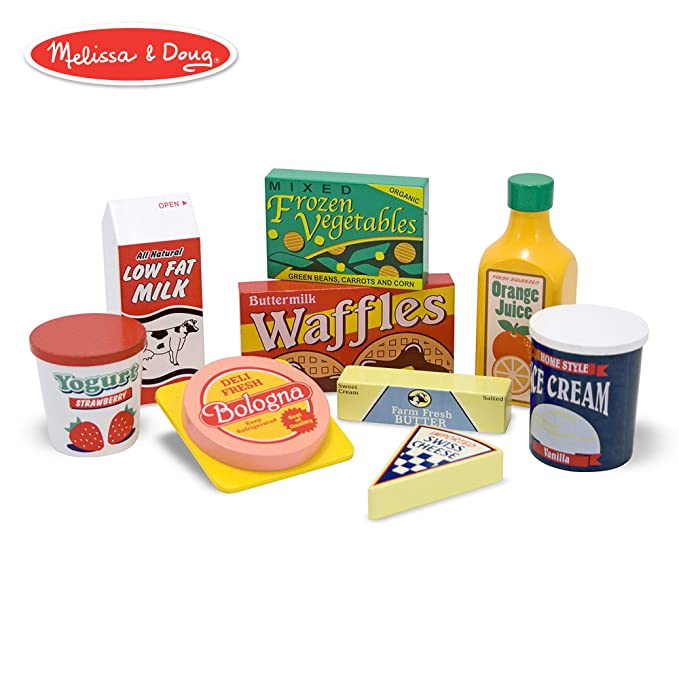 Melissa & Doug Fridge Food Wooden Play Food Set (Pretend Play, Hand-Painted Wood, Sturdy Construction, 9 Pieces)