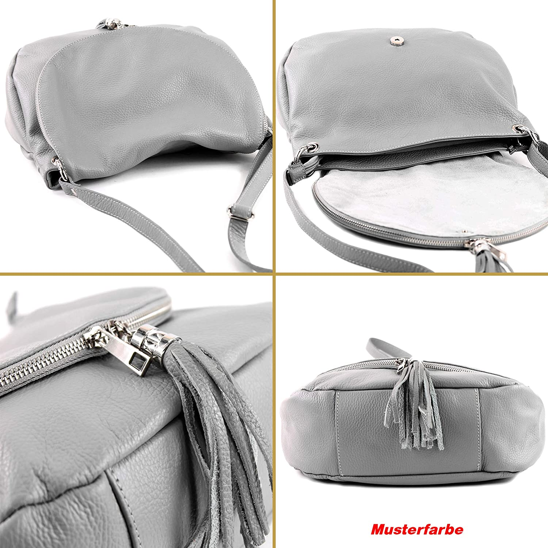 modamoda de - ital. Ledertasche Damentasche Handtasche Schultertasche Umhängetasche Ledertasche Nappaleder Medio T40 grande Rapsgelb / Leather