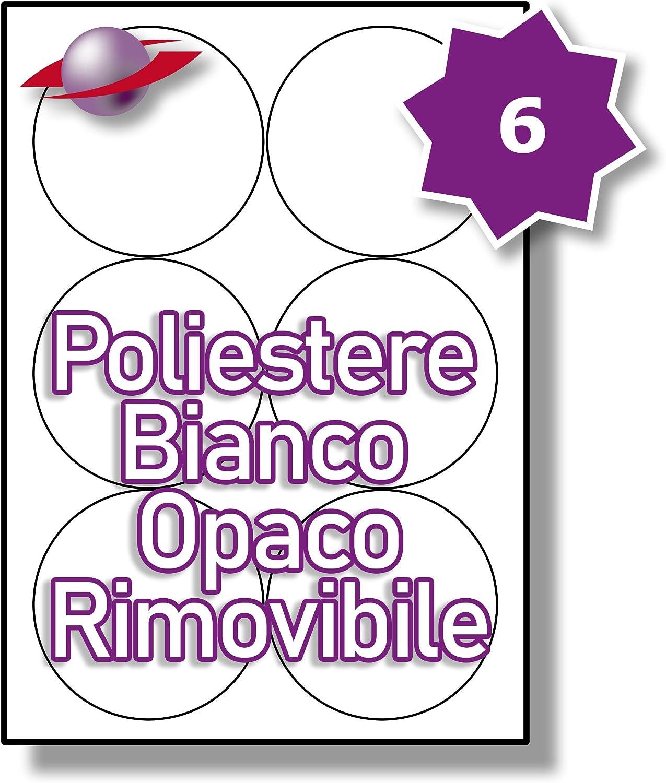 Label Planet/® Matte Etichette Rimovibili Bianche su Poliestere per la Stampa Laser 88mm Diametro 150 Etichette 6 Par Foglio LP6//88 MWR. 25 Fogli