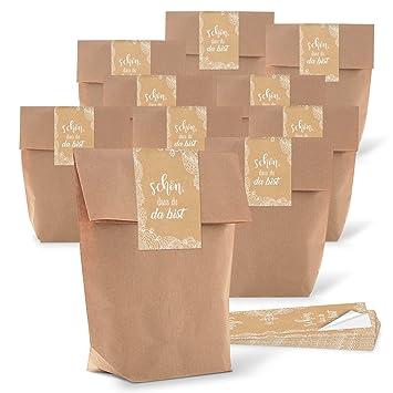 25 pequeñas bolsas marrones Papel Kraft papel 14 x 22 x 5,6 cm + 25 Schön dass du da bist Pegatinas 5 x 15 cm beige crema del paquete de colores Punta ...