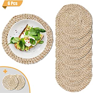 JINMURY Round Woven Placemats for Dining Table, Set of 6 Natural Corn Husk Weave Placemat, Rustic Braided Rattan Tablemats for Dining Room Table or Outdoor Patio Table, 11.8inch
