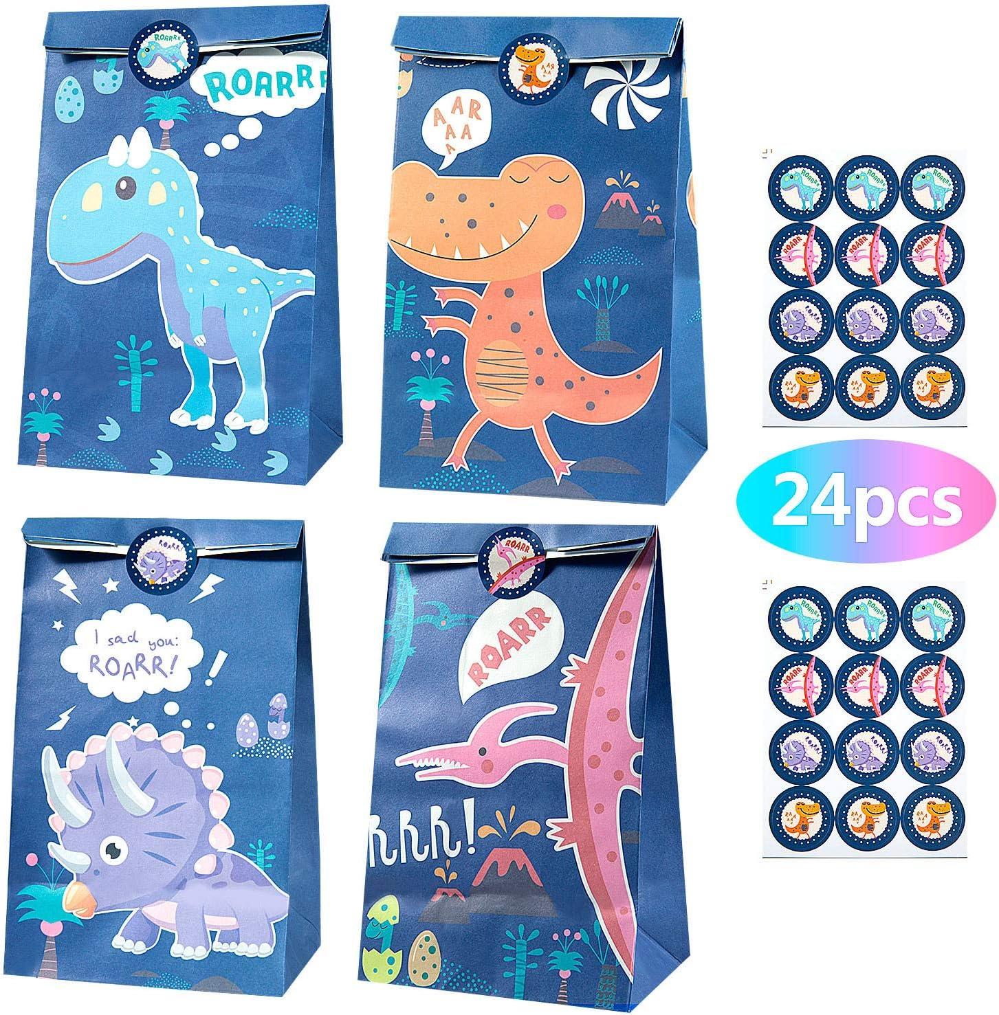 MOOKLIN ROAM 24 piezas Dinosaurio Bolsas de Papel Regalo Kraft Bolsa de Fiesta Biodegradable Regalos Comunión con 24 Pegatinas para Pascua Boda, Niños Suministros Fiesta de Cumpleaños, 4 Estilos