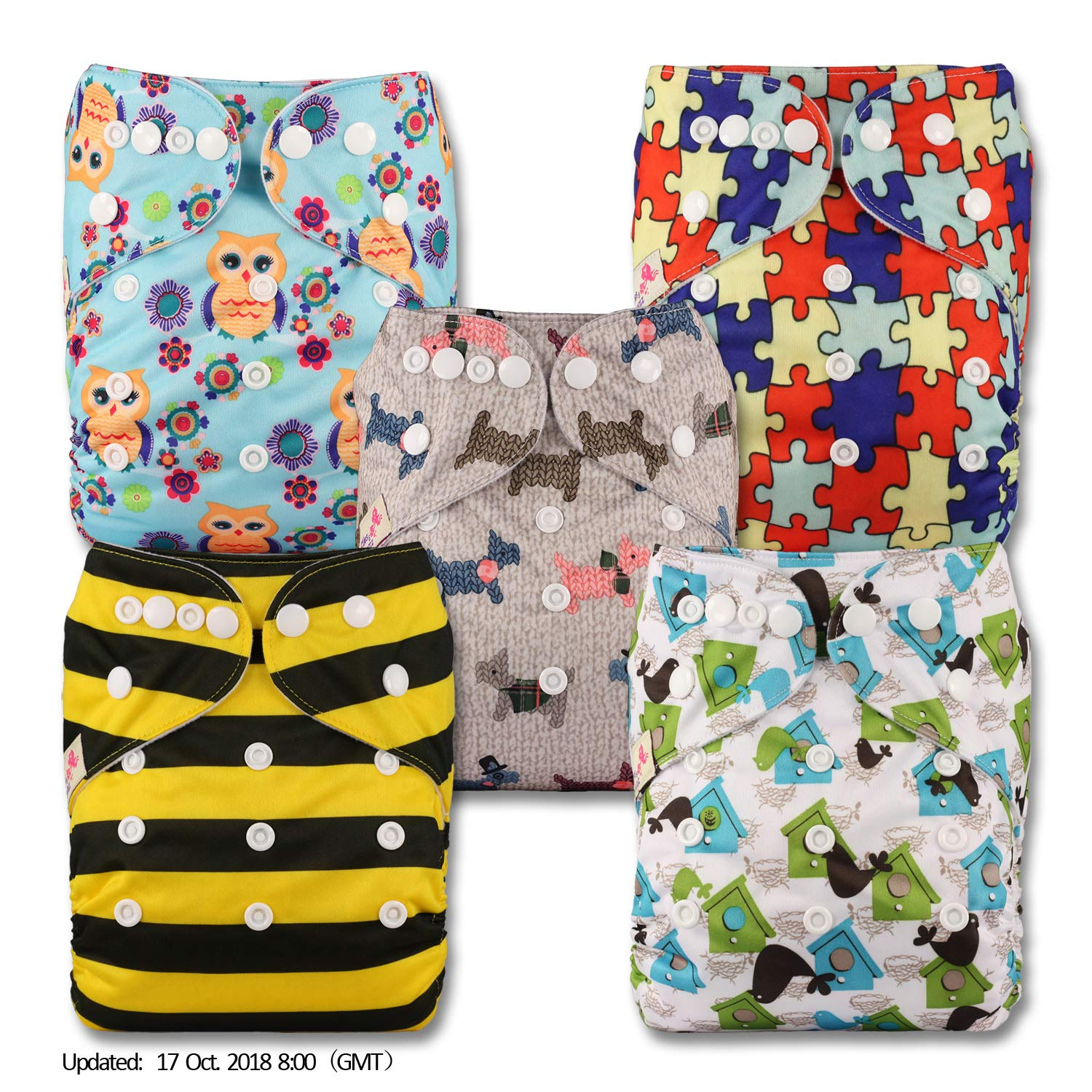 Patterns 810 Reusable Pocket Cloth Nappy Littles /& Bloomz Set of 8 Fastener: Popper with 8 Microfibre Inserts