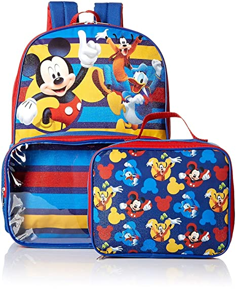 e354dc8bd81 Amazon.com  Disney Mickey Mouse Boys Backpack Lunch Box SET Bookbag  Toys    Games