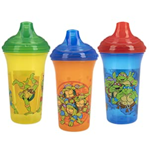 Nuby 3 Piece No Spill Easy Sippy Cups with Vari-Flo Valve Hard Spout, 9 Oz, Nickelodeon Teenage Mutant Ninja Turtles
