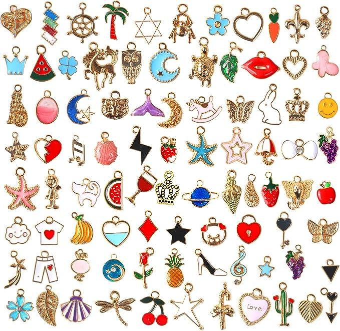 Pink Enamel Gold Plated Charm  Jewelry Making Supplies Heart Lock Key Charms Earrings Keychain 2pcs CHB12 Handmade Pendant Bracelet