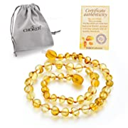 Choker Natural Unisex Raw Baltic Amber Teething Necklace for Babies Children Boys Girls Teethers, Drooling & Teething Pain Reduce Properties, Teething Pain (Yellow)
