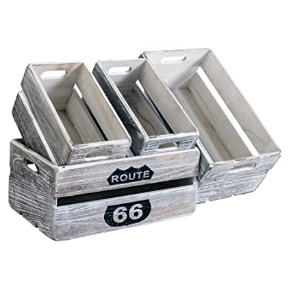 Rebecca Mobili Set 4 Pz Cassette Scatole Portaoggetti Decorate Legno