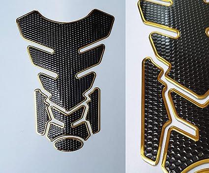 Protector de depósito, para motocicleta, aspecto de carbono, color negro y dorado: Amazon.es: Coche y moto