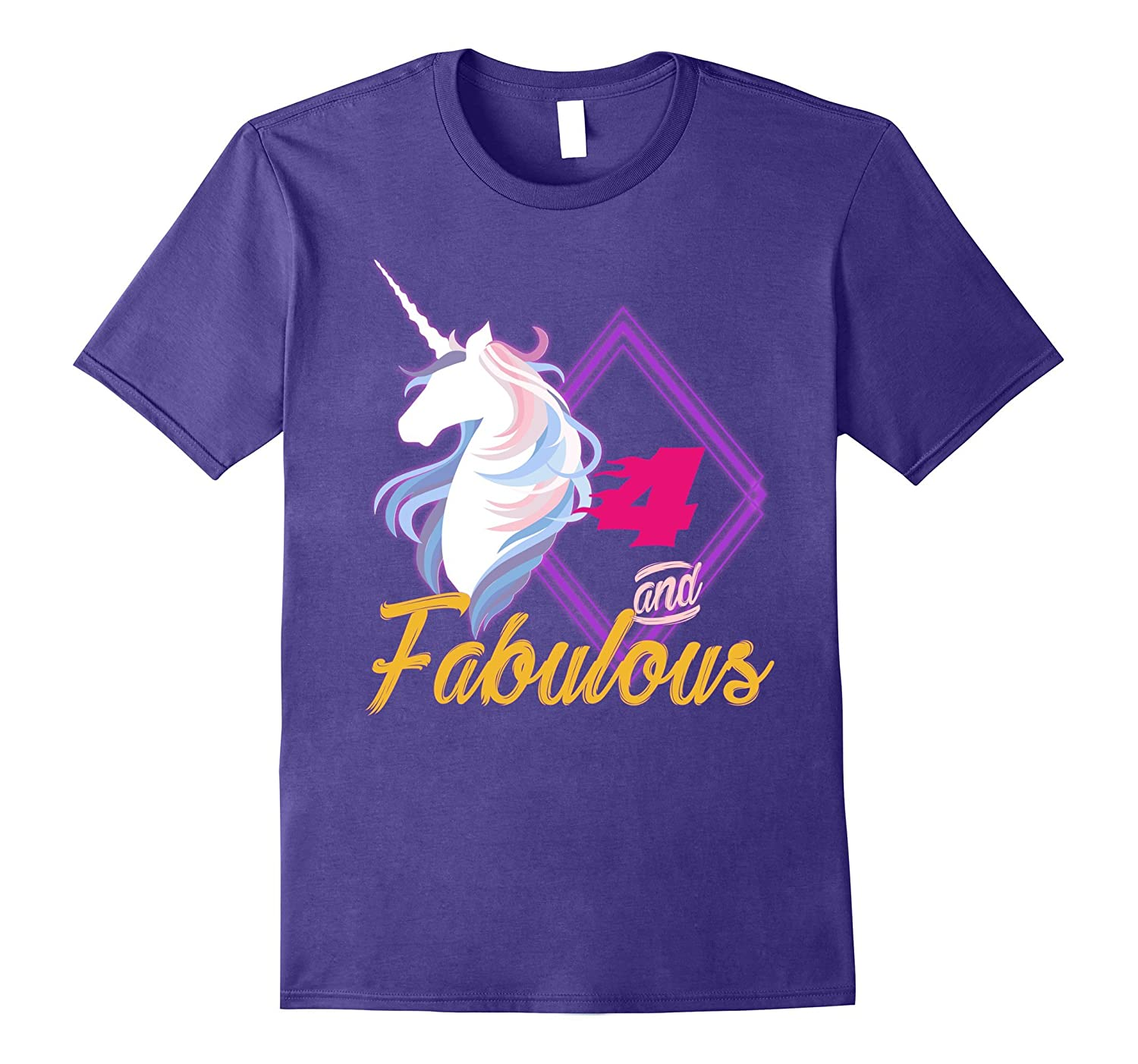 4th birthday shirt for girls Four and fabulous-FL