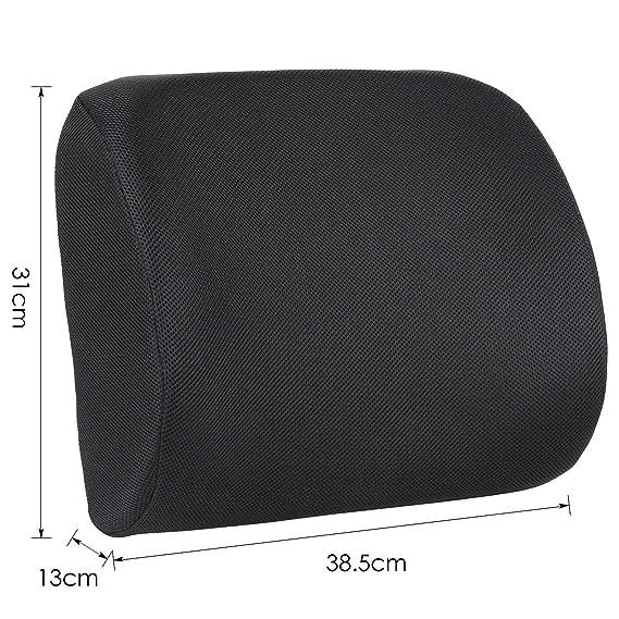 Homfa Cojín Lumbar Soporte Alivie la fatiga y el dolor de lumbar para Oficina con Esponja Memoria Extensible Cojines para Espalderas Negro 13.5x39x32cm: ...