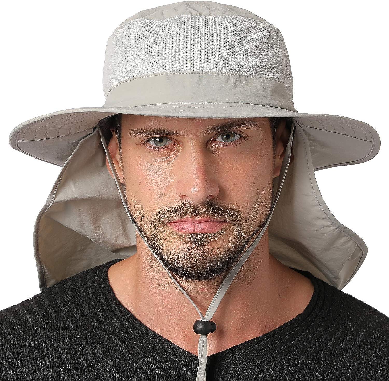 Jormatt Unisex Sun Hat with Neck Flap Cover Fishing Safari Cap Neck Protection,UPF 50+