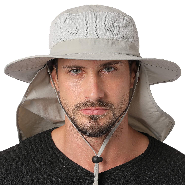 Jormatt Unisex UV Protection Outdoor Wide Brim Sun Hat UPF 50+ with Flap Neck Cover Foldable Fishing Safari Cap, Light Gray