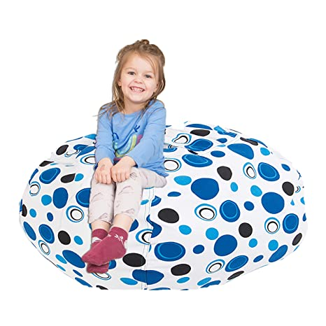 Fine Chubberroo Stuffed Animal Bean Bag Chair For Kids Extra Large Storage For Toys And More Blueish Polka Dot Lounger For Children 38 Theyellowbook Wood Chair Design Ideas Theyellowbookinfo