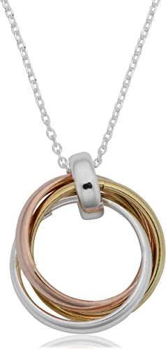 """10KT Tri Gold Colored Textured Circle Link Necklace 17/"""""""