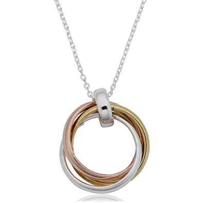 bf6991237 Image Unavailable. Image not available for. Color: Sterling Silver Tricolor Interlocking  Circles Pendant Necklace ...