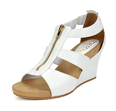 5ebe233724 TOETOS Women's Solsoft 2 White Pu Mid Heel Platform Wedges Sandals - 8.5 ...