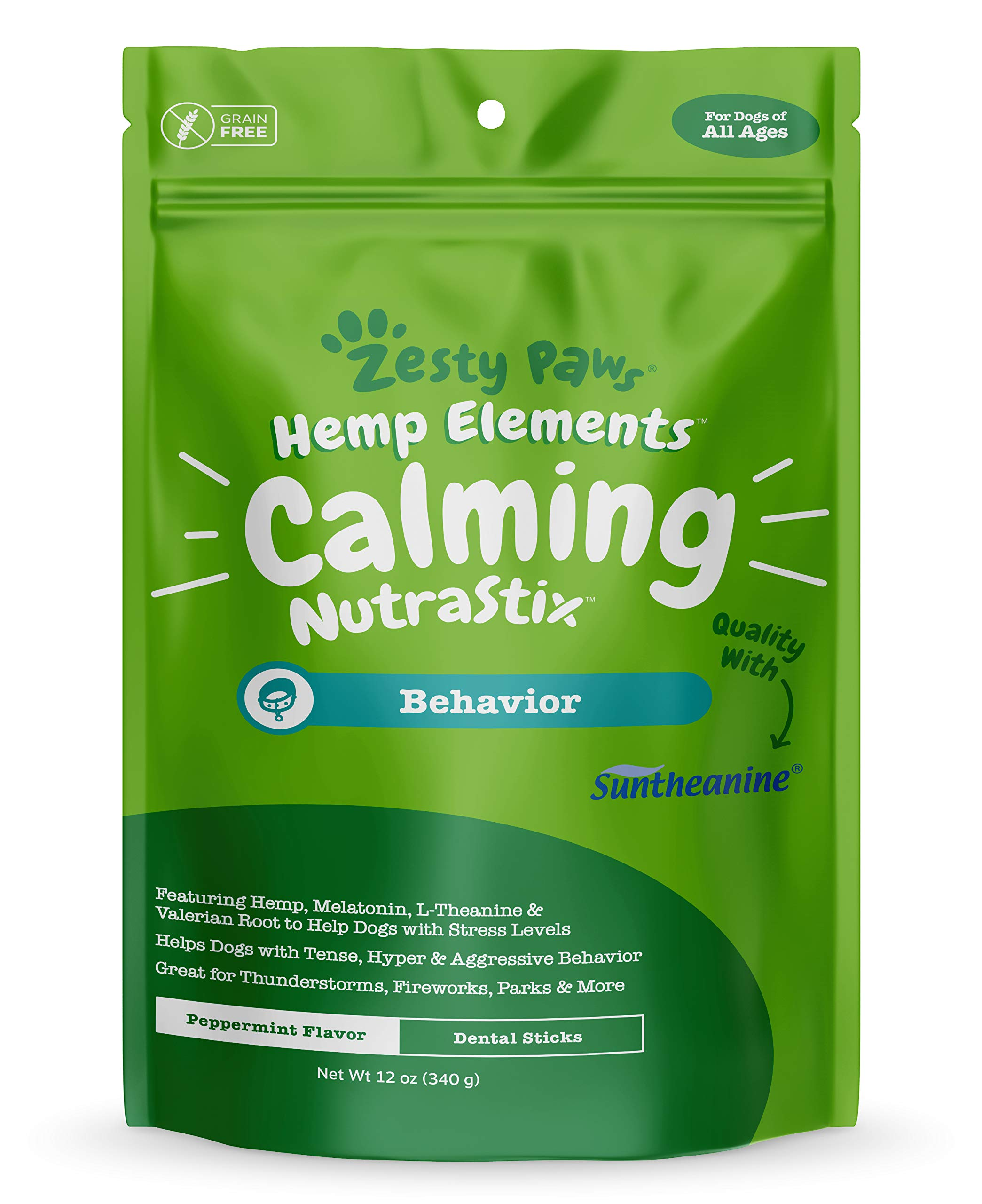 Calming Dental Sticks for Dogs - Stress & Anxiety Relief with Hemp, Melatonin & Chamomile - Dog Tartar Teeth Cleaning & Breath Freshener - Composure for Fireworks, Thunderstorms & Barking - 12 OZ by Zesty Paws