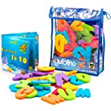 Gufolino Baby Bath Toys - 36 Foam Letters and Numbers + Bathtub Toys Organizer and Inflatable Waterproof Book for Toddlers
