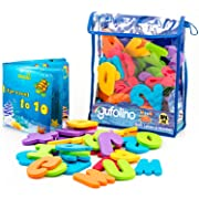 gufolino Baby Bath Toys - 36 Foam Letters and Numbers + Bathtub Toys Organizer and Inflatable Waterproof Book for Toddlers (Multicolor)