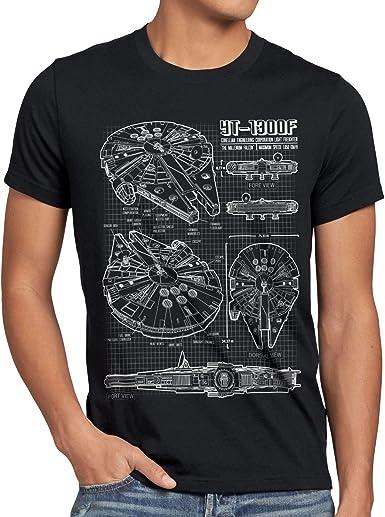Millennium Falcon Boxed Over Blue Prints Image Star Wars Mens T-shirt