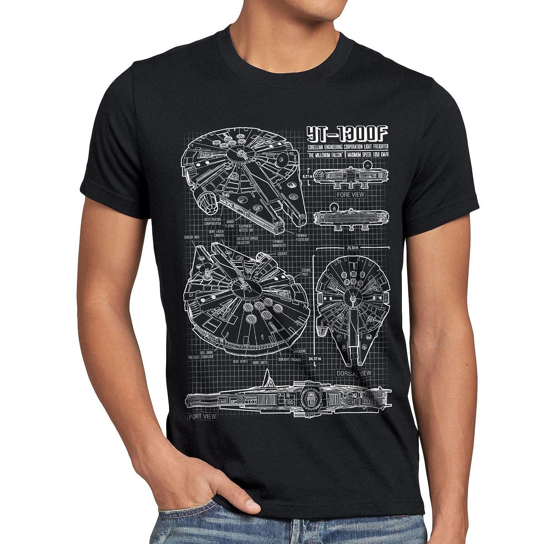 ddb89e7749c style3 Millennium Falcon Mens T-Shirt blueprint  Amazon.co.uk  Clothing