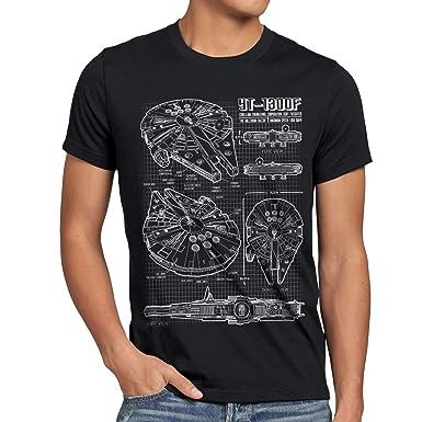 style3 Millennium Falcon Herren T-Shirt blaupause falkon , Größe:S;Farbe: