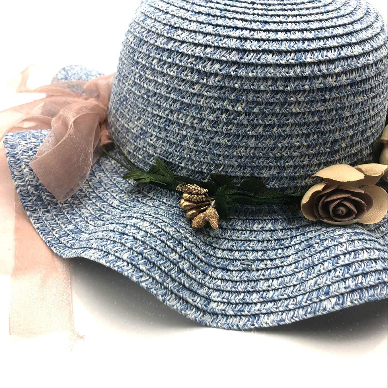 2019 Summer Kids Floral Straw Hats Fedora Hat Children Visor Beach Sun Baby Girls Sunhat Wide Brim Floppy